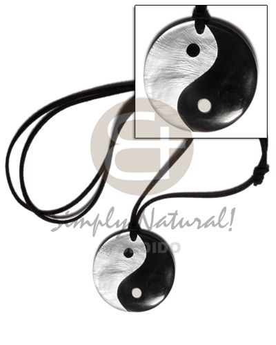 40mm round yin yang Adjustable Necklace