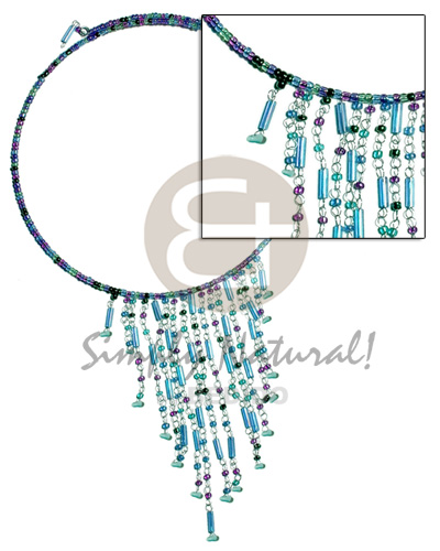 Dangling blue tones glass beads Adjustable Necklace