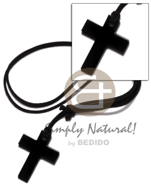 Carabao black horn cross 40mm Adjustable Necklace
