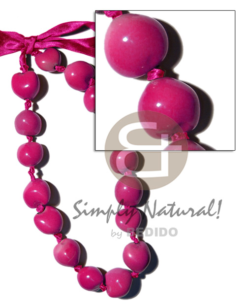 Painted graduated bright pink kukui Adjustable Necklace