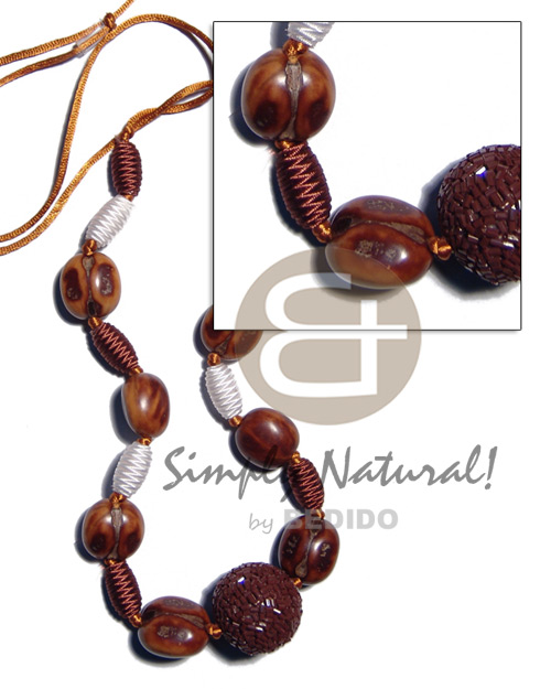 Capsule wrapped wood beads Adjustable Necklace