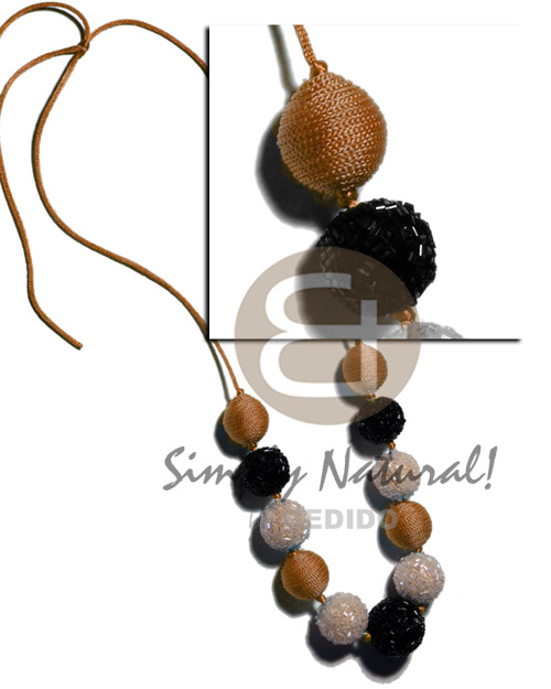 20mm 25mm Round Wrapped Wood Beads