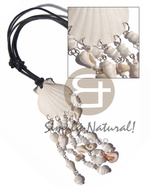 hand made White limpet shell dangling Adjustable Necklace