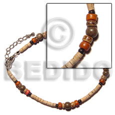 hand made 2-3mm coco heishe natural white Anklets
