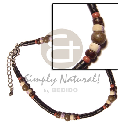 2-3mm coco black heishe Anklets