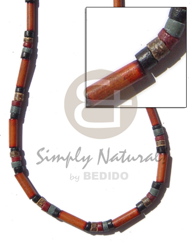 Bamboo tube black Bamboo Necklace