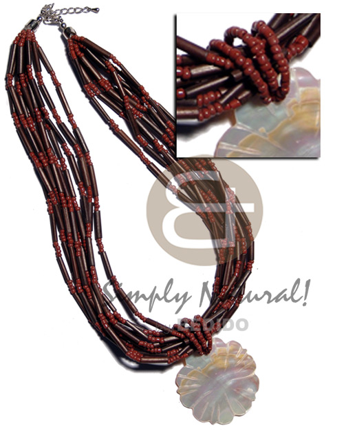 8 rows dark brown agsam Bamboo Necklace