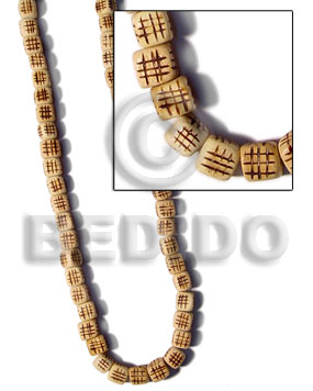 hand made Natural wood dice burning Bamboo Wood Burning Beads