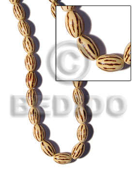 hand made 25mm natural wood oval Bamboo Wood Burning Beads