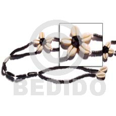 Black Floral Cowrie Shell Belt