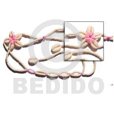 Pink Floral Cowrie Shell Belt