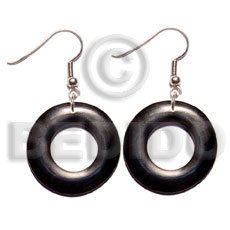 hand made Dangling 35mm ring black Bone Earrings Horn Earrings