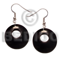 35mm round black horn Bone Earrings