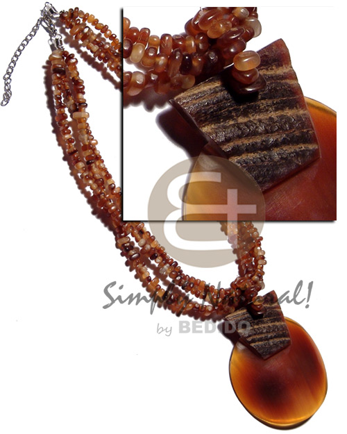 3 layers amber carabao horn Bone Necklace Horn Necklace