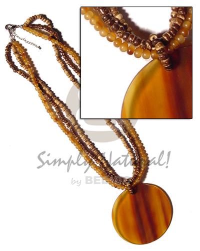 3 layers 2-3mm tiger coco Bone Necklace