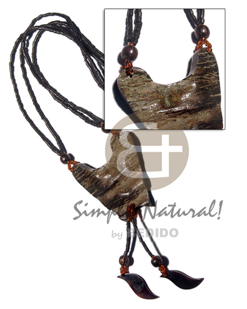 2 layers 2-3mm coco black Bone Necklace