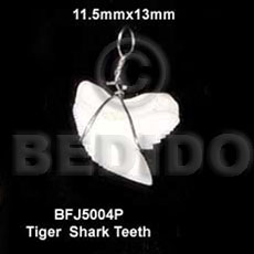Tiger shark teeth pendant 11.5mmx13mm- Bone Pendants