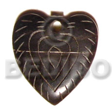 Carved horn heart 35mm Bone Pendants