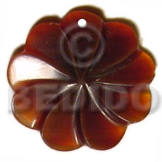 Amber flower horn 35mm Bone Pendants