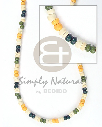 2-3 mm green white blue yellow coco pokalet Bright & Vivid Color Necklace