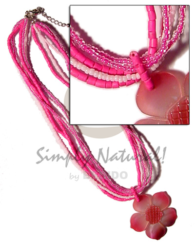 5 layers glass bead Bright & Vivid Color Necklace