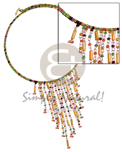 hand made Dangling orange green combination glass beads Bright & Vivid Color Necklace