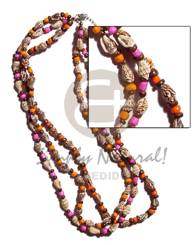 3 layer nassa tiger Bright & Vivid Color Necklace