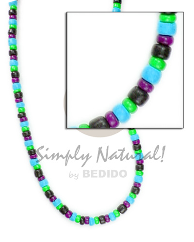 4-5mm pokalet blabk neon green aqua blue violet Bright & Vivid Color Necklace