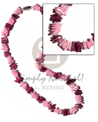 Pink sq. cut hammershell Bright & Vivid Color Necklace