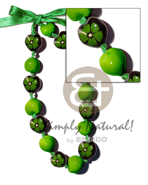 Kukui nuts in painted graduated Bright & Vivid Color Necklace