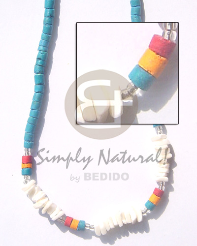 4-5 coco heishe turq blue Bright & Vivid Color Necklace