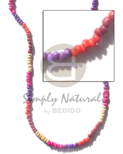 hand made 2-3mm coco pukalet violet Bright & Vivid Color Necklace
