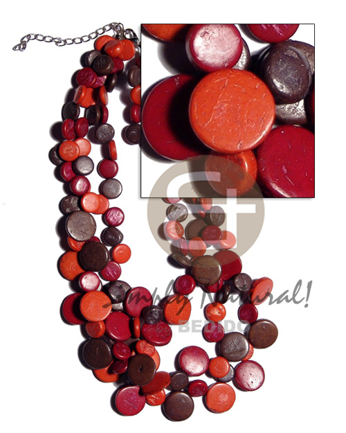 3 layers 10mm and 15mm Bright & Vivid Color Necklace