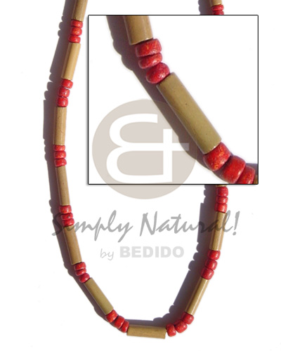 hand made Bamboo tube red 4-5 Bright & Vivid Color Necklace