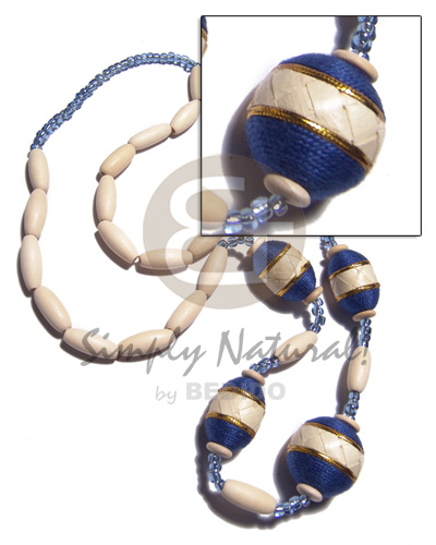 nat. white wood capsules  oval wood beads 25x18mm wraped in thread and banig combination / navy blue and gold tones / 28in - Bright & Vivid Color Necklace