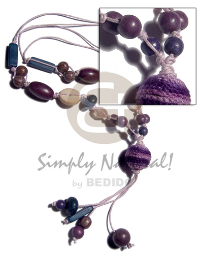 2 layers knotted wax cord  asstd.  wood beads and 20mm tassled wrapped wood beads / violet and dark blue tones / 28mm plus 3in. tassles - Bright & Vivid Color Necklace