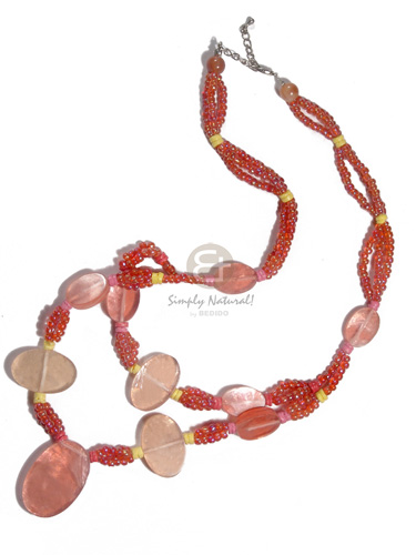 3 rows glass beads in Bright & Vivid Color Necklace