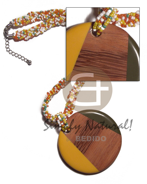 round 60mm patched bayong wood and resin combination in flat twisted glass beads / 16mm - Bright & Vivid Color Necklace