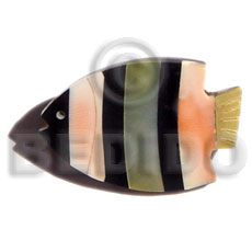 Inlaid fish black tab orange luhuanus Brooch