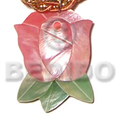 Inlaid rosebud hammershell 40mm Carved Pendants