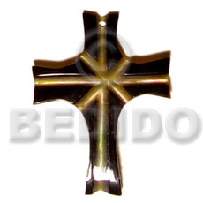 hand made Mop cross skin 40mm Carved Pendants