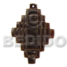 Black tab checkered cross carving Carved Pendants