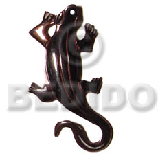 Black tab lizard carving 50mm Carved Pendants