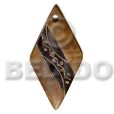 Natural horn diamond carving Carved Pendants