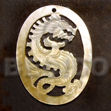 Oval mop dragon carving 45mm Carved Pendants