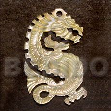 Dragon mop carving 45mm Carved Pendants