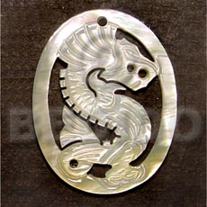 Oval dragon carving 45mm Carved Pendants