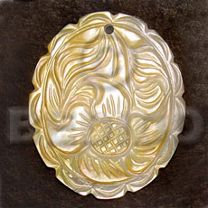 Oval mop intricate carving Carved Pendants