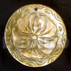 Round mop intricate 5 petal Carved Pendants