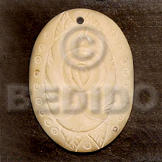 Oval melo carving 40mm Carved Pendants